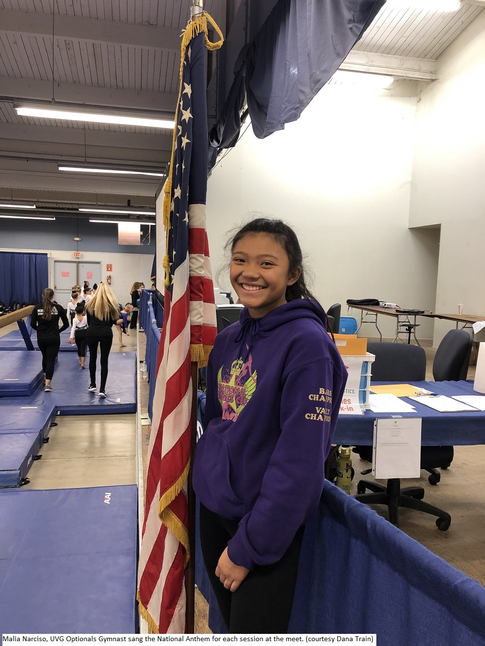 191109 Malia Narciso UVG Optionals Gymnast sang the National Anthem for each session at the meet