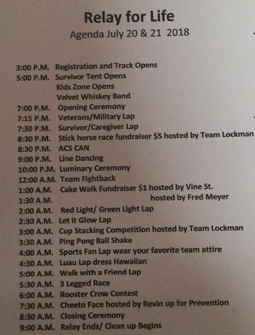 180710 Relay for Life Douglas County schedule